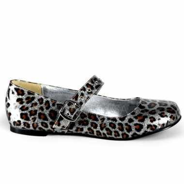 Zilveren luipaard lak ballerinas