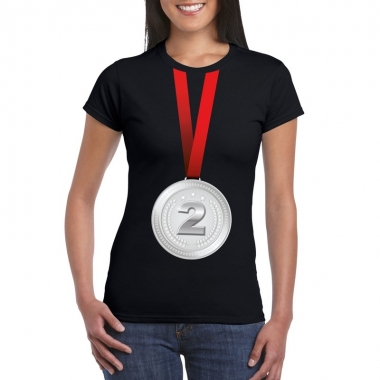 Zilveren medaille kampioen shirt zwart dames