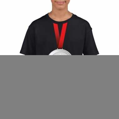 Zilveren medaille kampioen shirt zwart jongens en meisjes