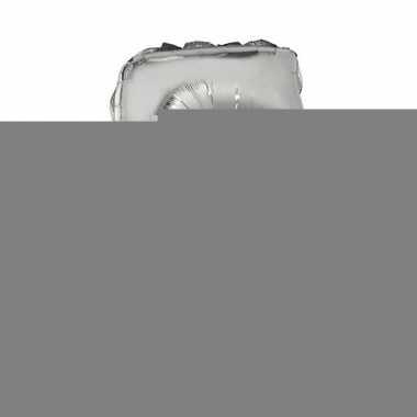 Zilveren opblaas cijfer 5 op stokje 41 cm