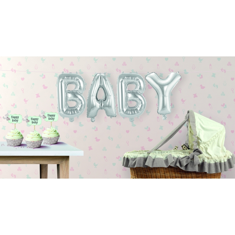 Zilveren opblaasletters baby