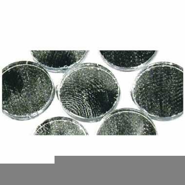 Zilveren ronde zelfklevende spiegel mozaiek