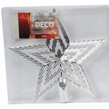Zilveren ster piek kerstboomversiering 21 cm