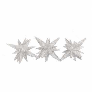 Zilveren sterren 3d 7,5 cm
