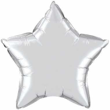 Zilveren sterretjes folie ballon 50 cm