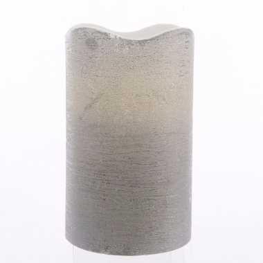 Zilveren waskaars warm wit led 10 cm