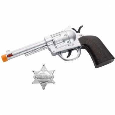 Zilveren western revolver met badge