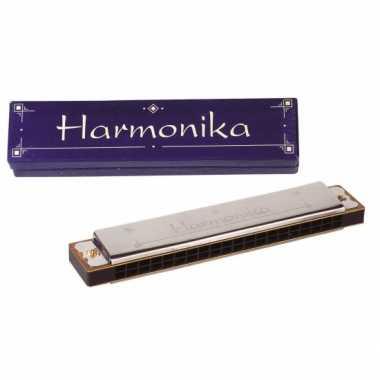 Zilverkleurige mondharmonica in kartonnen doosje