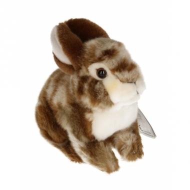 Zittend konijnen knuffeltje bruin 22 cm met kraalogen