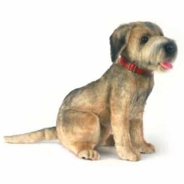 Zittende pluche borderterrier hond 44 cm