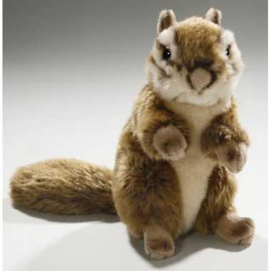 Zittende pluche knuffel eekhoorn 17 cm