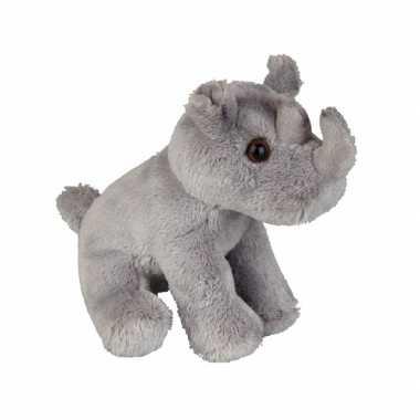 Zittende pluche neushoorn 15 cm