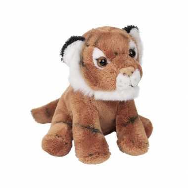 Zittende pluche tijger 13 cm