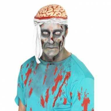 Zombie hoed met bloederige hersenen