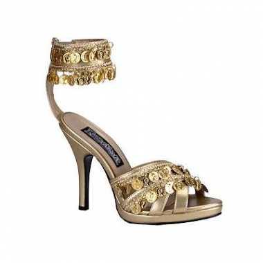 Zomerse sandaal met gouden muntjes