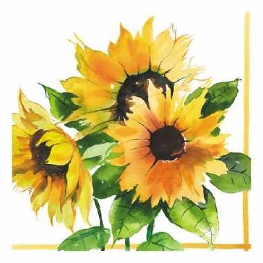Zonnebloemen print servetten 20 stuks