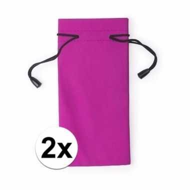Zonnebril berscherm etui roze 2 stuks