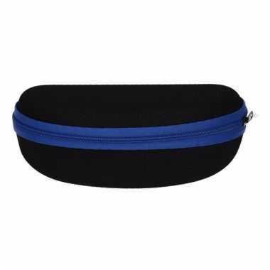 Zonnebrillen hoesje zwart met blauw
