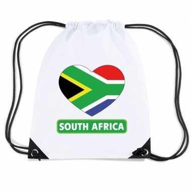 Zuid afrika hart vlag nylon rugzak wit