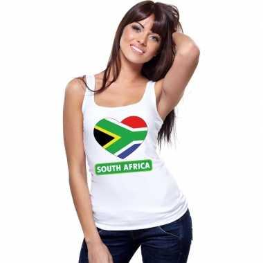 Zuid-afrika hart vlag singlet shirt/ tanktop wit dames