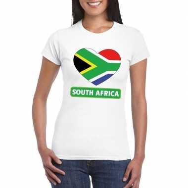 Zuid afrika hart vlag t-shirt wit dames