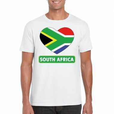 Zuid afrika hart vlag t-shirt wit heren