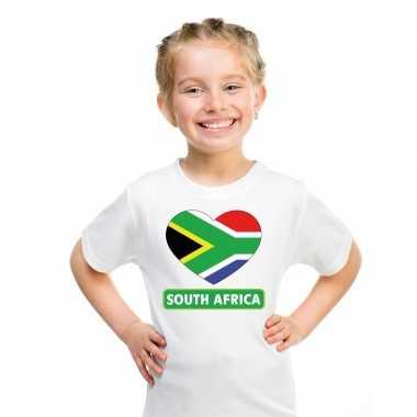 Zuid afrika hart vlag t-shirt wit jongens en meisjes