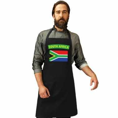 Zuid-afrika vlag barbecueschort/ keukenschort zwart volwassenen