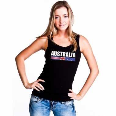 Zwart australie supporter singlet shirt/ tanktop dames