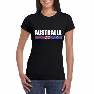 Zwart australie supporter t-shirt voor dames