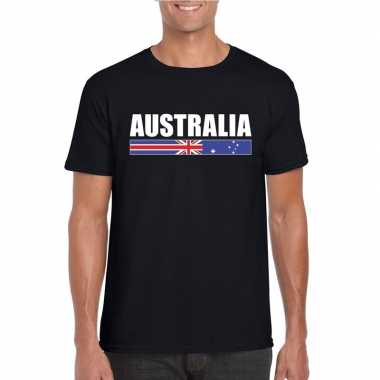 Zwart australie supporter t-shirt voor heren