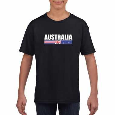 Zwart australie supporter t-shirt voor kinderen