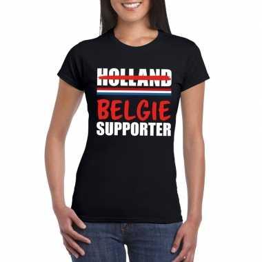 Zwart belgie shirt voor teleurgestelde holland supporters dames