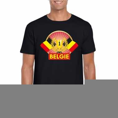 Zwart belgie supporter kampioen shirt heren