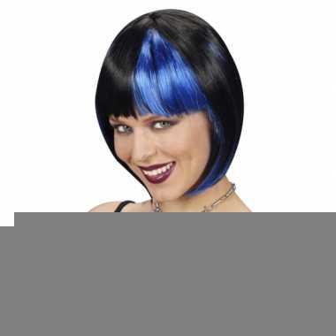 Zwart/blauw boblijn dames pruik