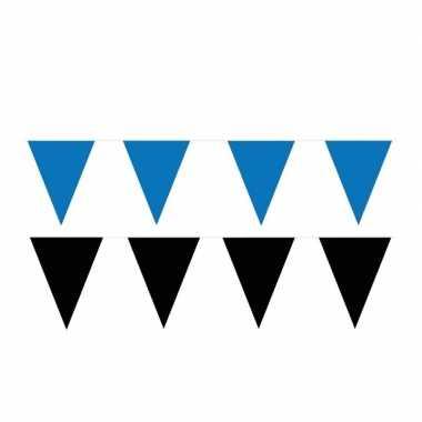 Zwart/blauwe feest punt vlaggetjes pakket 200 meter