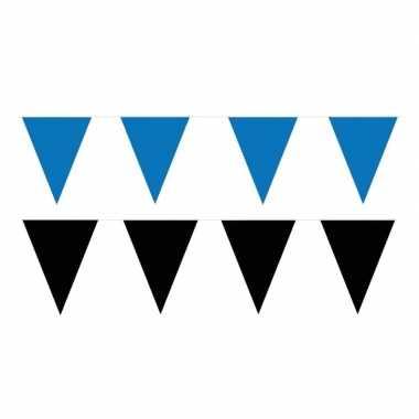 Zwart/blauwe feest punt vlaggetjes pakket 60 meter