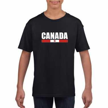Zwart canada supporter t-shirt voor kinderen