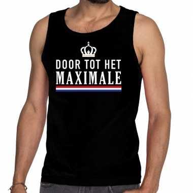 Zwart door tot het maximale tanktop / mouwloos shirt voor heren