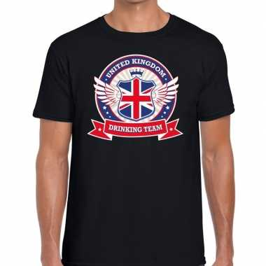 Zwart engeland drinking team t-shirt heren