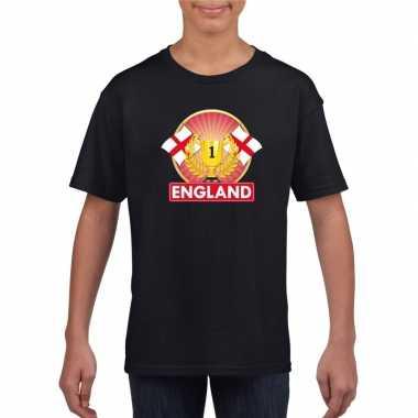 Zwart engeland supporter kampioen shirt kinderen