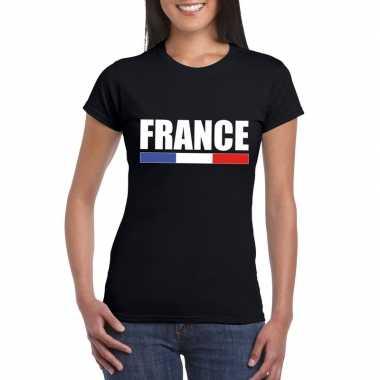 Zwart frankrijk supporter t-shirt voor dames