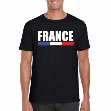 Zwart frankrijk supporter t-shirt voor heren