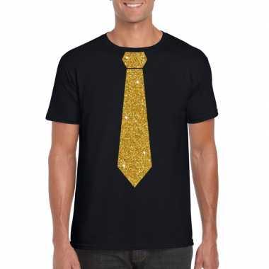 Zwart fun t-shirt met stropdas in glitter goud heren