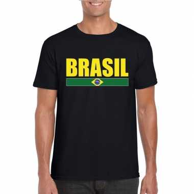 Zwart/ geel brazilie supporter t-shirt voor heren
