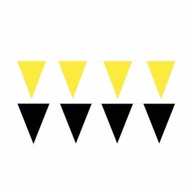 Zwart/gele feest punt vlaggetjes pakket 200 meter