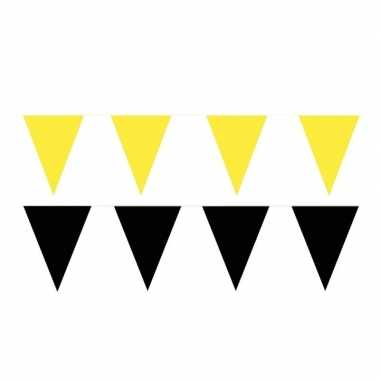 Zwart/gele feest punt vlaggetjes pakket 60 meter
