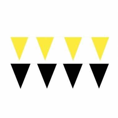 Zwart/gele feest punt vlaggetjes pakket 80 meter