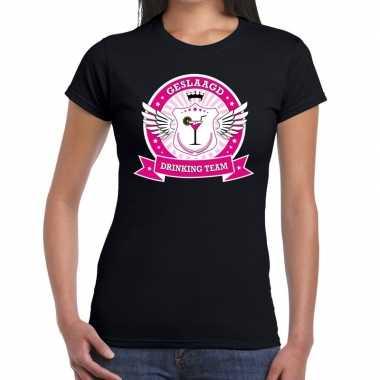 Zwart geslaagd drinking team t-shirt dames