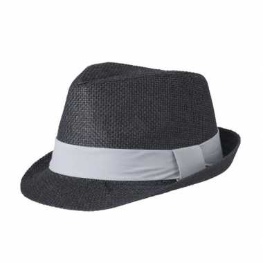 Zwart gevlochten hoedje met contrasterende band